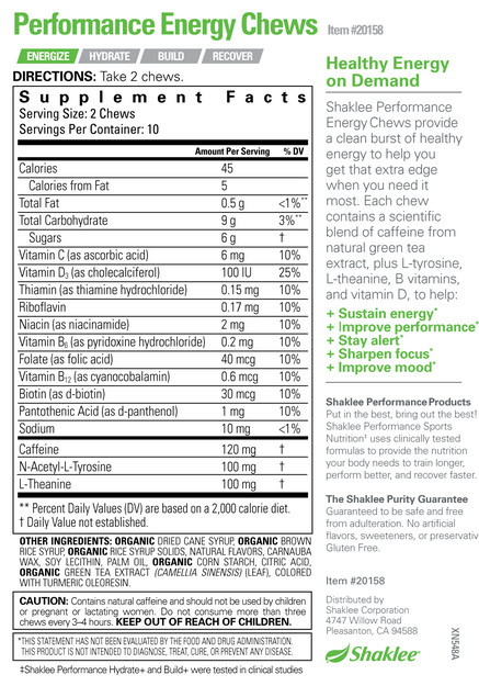 Energy Chews Label