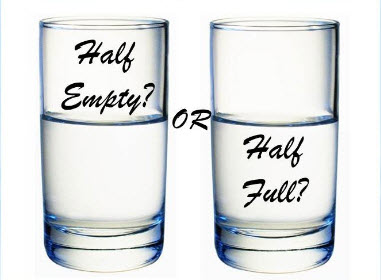 glass half empty or half full negative or positive thoughts